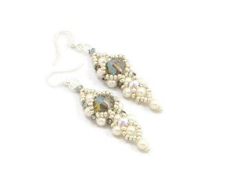 Cream Pearl Earrings - Crystal Drop Earrings - Beadwork Jewelry - Bead Dangle Earrings - Evening, Wedding, Bridal Earrings