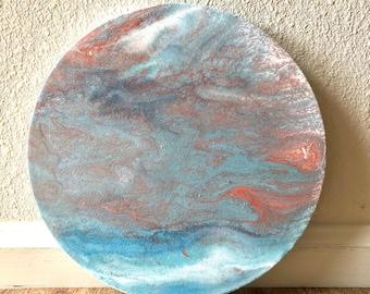 Acrylic Pour on 10x10x1 Round Canvas