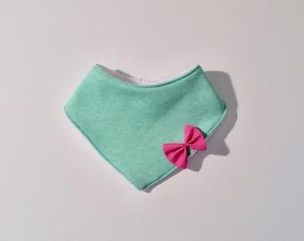 Mint and pink bow bandana bib / baby / baby / birth / gift / newborn. French manufacturing