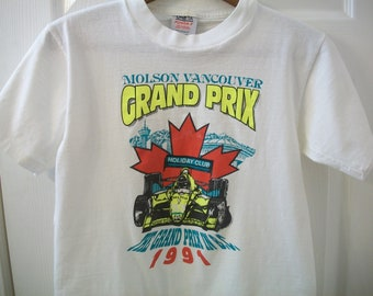 Vintage 90s Molson Vancouver T Shirt Small Grand Prix Auto Racing Holiday Club 1991 British Columbia Indy 500 Car Formula One Brewery Beer