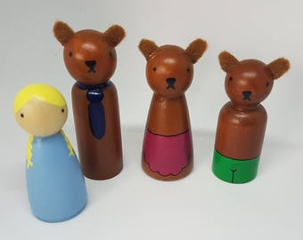Goldilocks and the Three Bears peg dolls