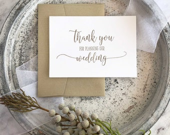 Wedding Planner Thank You, For Planning Our Wedding Card, Wedding Planner Gift, Wedding Planner Card, Wedding Co Ordinator Gift, Gold Cards