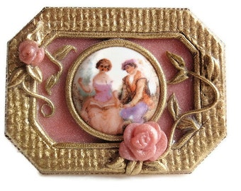 OOAK, Artisan Polymer Clay Brooch and Pendant, Handmade, Fashioned after Antique Renaissance Jewelry set into a goldtone mounting
