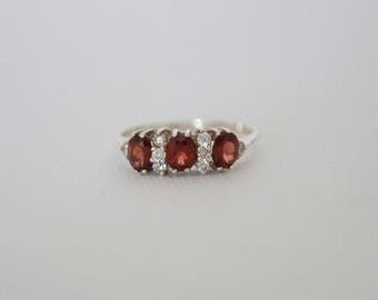 Vintage Sterling Silver Ring - Vintage Red Stone Ring - Vintage Gothic Ring - Sterling Silver & Garnet Ring - Gothic Wedding - Size Q 8 1/4