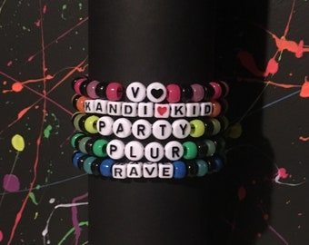 Rave Kandi Custom Bracelet or Choker Black and Neon