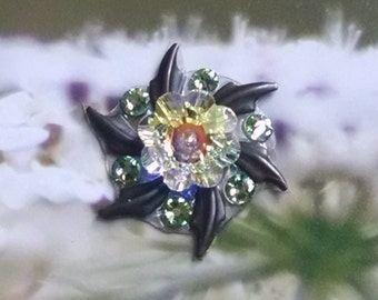 Clear and Green Crystal Bindi