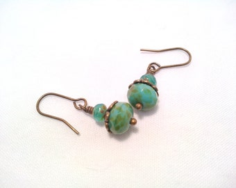 Simple Turquoise Earrings Turquoise Beaded Earrings Turquoise Dangles Small Earrings Czech Earrings Blue Turquoise Jewelry Ten Dollar Gift