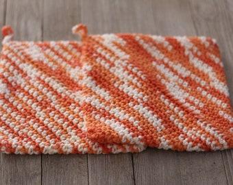 Double Thick Crocheted Potholder ~ White, Orange Shades. Thick Crocheted Potholder ~ Crocheted Potholder Set of 2