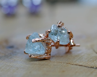 Raw Aquamarine Studs Earring Rose Gold Silver Raw Gemstone March Birthstone Minimal Earrings Multi stone Earring Mother Gift Idea