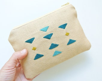 Embroidered purse /case with geometric detail