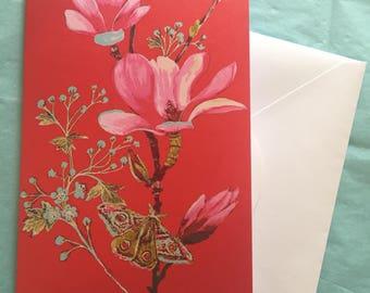 magnolia and moth greetings card
