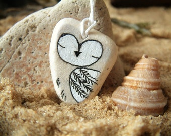 Hand Painted Beach Pottery Owl Necklace | Sea Tumbled Pottery | Suffolk Beach Jewellery | Thong Necklace | Handmade In UK