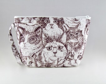 Sketched Cats Makeup Bag - Accessory - Cosmetic Bag - Pouch - Toiletry Bag - Gift