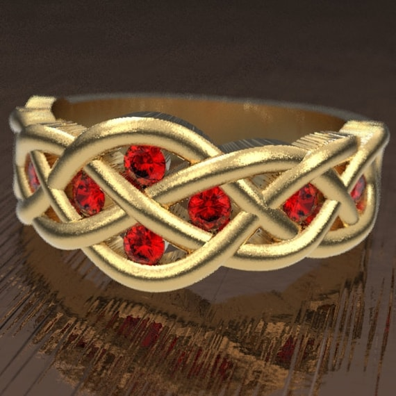 Celtic Ruby Wedding Ring With Woven Knotwork Design in 10K 14K 18K Gold, Palladium or Platinum Made in Your Size CR-764