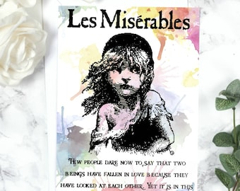 Les Miserables Greeting Card - Cosette, Victor Hugo, Romantic Card, Love Card, Literary Greeting Card