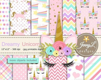 50% OFF Unicorn Faces Digital Papers and Clipart SET, Pastel Unicorn Stars and Hearts for Scrapbooking, Invitation, Planners
