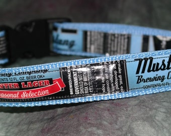 Adjustable Dog Collar from recycled Mustang Brewing Winter Lager Beer Labels
