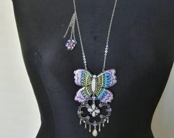 Animal mod line necklace. Butterfly Violet
