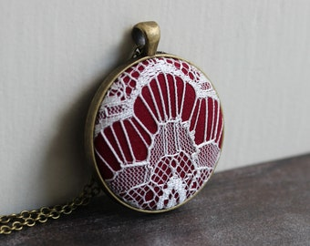 Burgundy Art Deco Necklace, Lace Jewelry, Burgundy Necklace, Geometric Pendant, Red and White, Burgundy Bridesmaid, Maroon Necklace