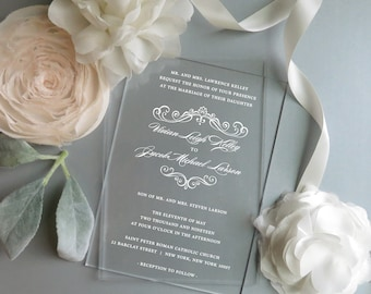 Acrylic Invitations   Clear Invitations    Vinyl Invitations    - Style 06 - Graceful COLLECTION