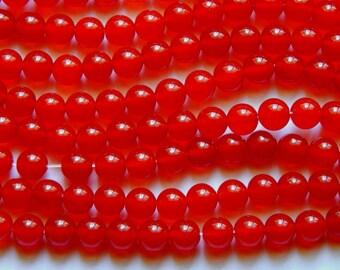 8mm Jade Beads - Red Malaysia Jade Polished Round Gemstone Beads, Half Strand (INDOC51)