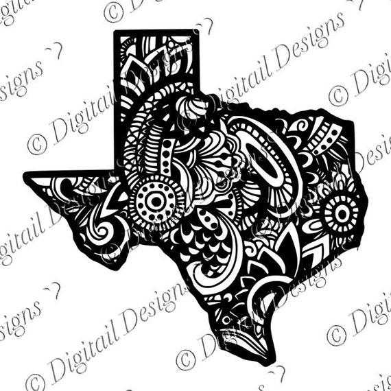 Texas State Doodle Art Zentangle Decal Svg Png Cut File