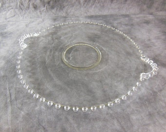 Vintage 15 inch, Imperial Candlewick Glass Company Glass Platter with Beaded Trim