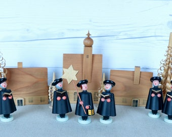 Vintage Small Erzgebirge German Wooden Christmas Village with Church and Choir Carolers, Trees and Houses