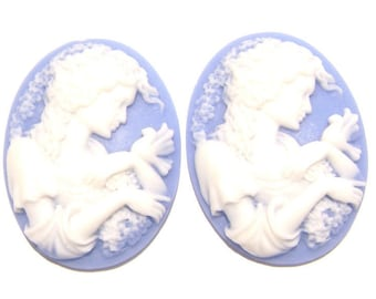 Cab Cabochon Cameo Acrylic Resin Lady Oval White on Blue, 40x30mm, 5 Qty