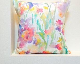Patch of Fleurs Watercolor Floral Pillow Covers, 18x18, 20x20 Designer Floral Fabric, Watercolor Flowers Pillow Accent