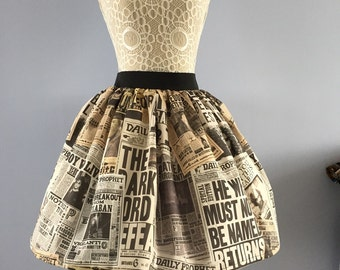 Ladies or girls Harry Potter inspired Magical Newspaper full skater style skirt