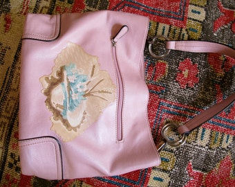 Upcycled Purse, Decoupage Handbag, Refashioned Bag, Shoulder Bag, Decoupage Handbag,  Vintage Wallpaper Decoupage, Wallpaper Decoupage