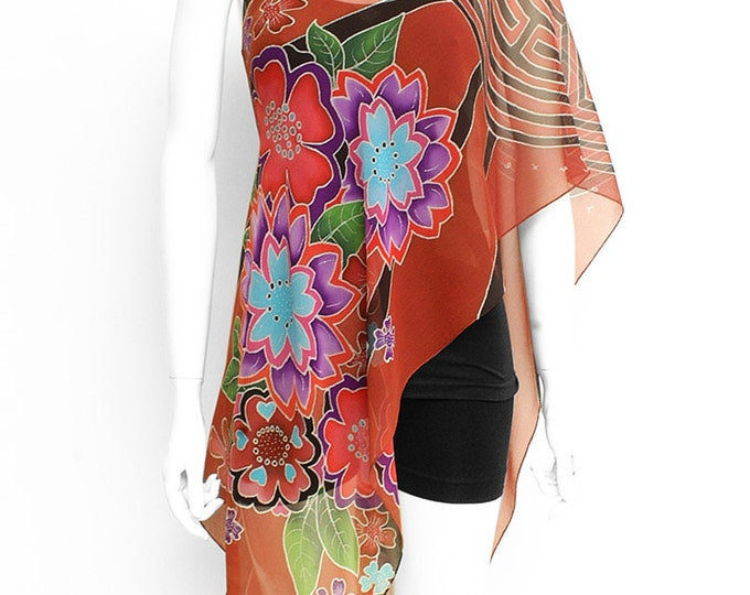 Labyrinth mandala and colorful flowers hand painted silk scarf