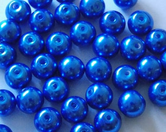 Set of 30 round pearls Blue Navy 8mm