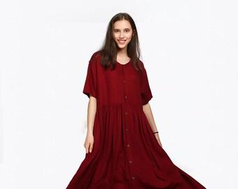 Women's linen maxi dress oversize linen kaftan bridesmaid dress large size dress plus size clothing Custom made A72B