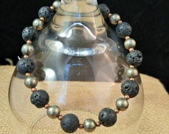 Pyrite, Black Lava Bead and Copper Stretch Bracelet