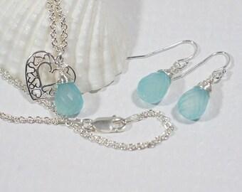 Aqua Blue Chalcedony  Set Jewelry Pendant and Earrings Gemstone Jewelry