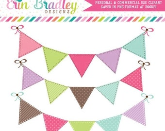 80% OFF SALE Bunting Banner Flags Clipart Clip Art for Personal & Commercial Use Pink Brown Green Blue and Purple