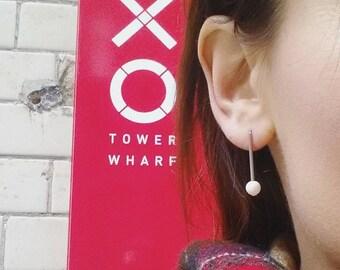 Pearl earrings, stainless steel earrings, Swarovski pearls earrings, surgical steel drop earrings, bar earrings, a gift