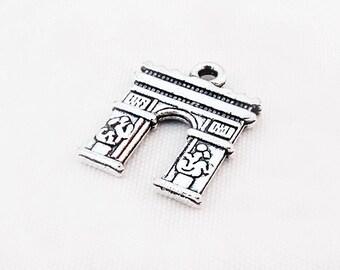 BVV18 - Pendant charm Arc de triomphe Paris 18 mm X 14 mm antiqued silver