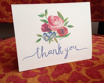 Watercolor Thank You Note, colored floral - 10ct.