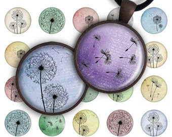 75% OFF SALE Digital Collage Sheet 1 inch round 1 inch circle Pendant Printable Download Instant Download for jewelry making - DANDELION