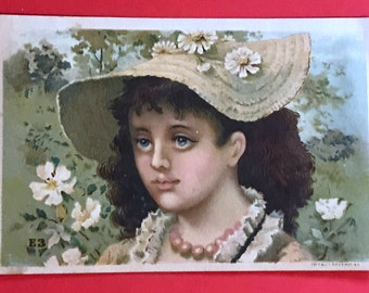 Victorian Trade Card 1800s, Victorian Girl with Big Curls Wearing Big Hat, H Barnards Millinery Goods, Victorian Collectible