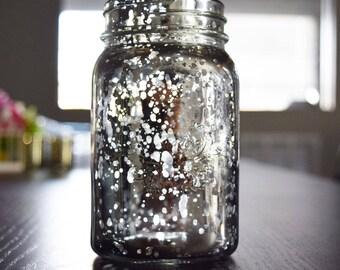 Fantago Regular Mouth Silver Mercury Glass Mason Jar, 16OZ / 1 PINT W/ HANDLE