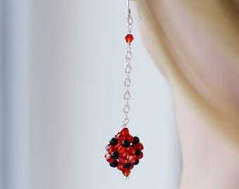 Round red earrings,For her, long red black earrings