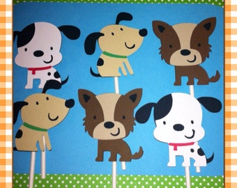 12 Puppy Cupcake Toppers, Puppy Baby Shower, Puppy Birthday, Dalmatian Decorations, Cake Toppers