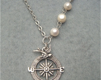 Bird Compass and White Pearl Necklace