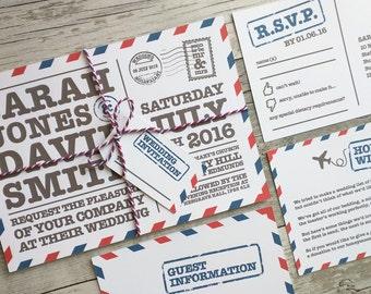 Printable Wedding Invitation, Airmail Postcard Wedding Invitation, Postcard Wedding Invitation, Airmail Wedding Invitation, Digital File