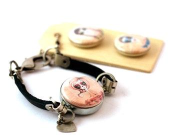 Zombie Jewelry • Zombie Bracelet • Teen Girl Gift • Leather Bracelet • Custom • Magnetic Bracelet • 3 in 1 • Recycled Steel • Zombie Gift