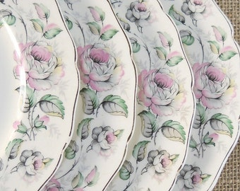 Vintage Canonsburg Dessert Plates Set of 4, Queen's Rose, Cottage Style Tea Party, Salad Plates for Wedding